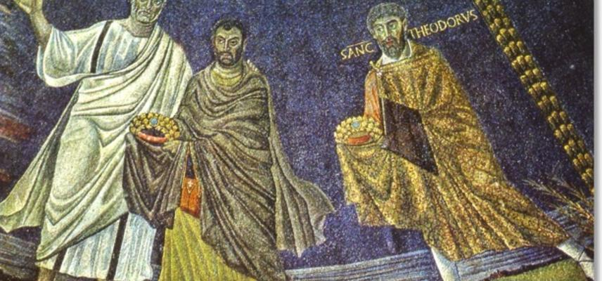 A fresco of saints from a Church in Late Antiquity